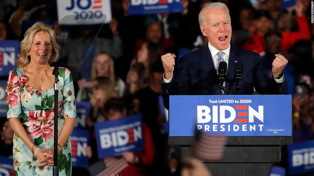 "Biden rallied from early setbacks in Iowa, New Hampshire and Nevada, <a href=""http://www.cnn.com/2020/02/29/politics/gallery/south-carolina-primary/index.html"" target=""_blank"">winning the South Carolina primary</a> in February 2020. ""Just days ago, the press and pundits had declared this candidacy dead,"" Biden said in his speech to supporters. ""Because of you, the heart of the Democratic Party, we just won and we won big because of you. We are very much alive."""