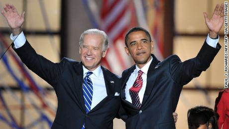 In this August 28, 2008, file photo, Democratic presidential candidate Barack Obama and vice presidential candidate Joe Biden appear onstage at the end of the Democratic National Convention at the Invesco Field in Denver, Colorado.