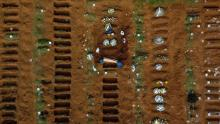 An aerial view of Vila Formosa cemetery in Sao Paulo, during an April burial.