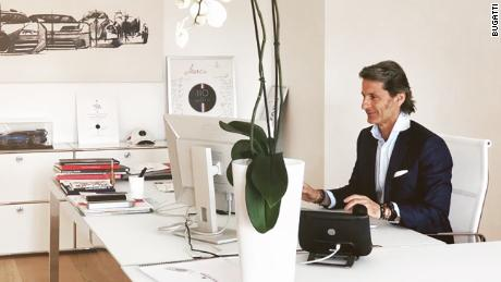 Bugatti president Stephan Winkelmann at his desk at the company's Molsheim, France, headquarters.