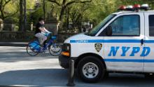 New York City police patrol Central Park on May 2 to ensure people are abiding by socal distancing protocols.