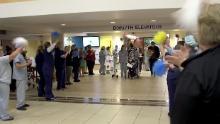 The staff at TriHealth Good Samaritan Hospital gathered last week to celebrate Kappers' release.