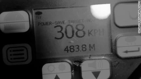 A photo of the radar gun that clocked the driver.