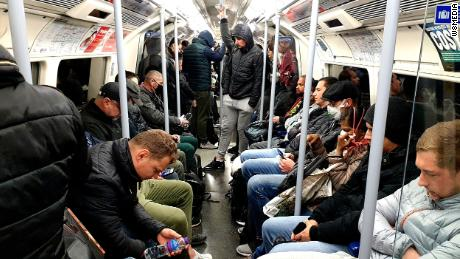 A busy London Underground carriage this morning, after Boris Johnson encouraged some people to go back to work but before he advised Brits to wear face coverings in public.