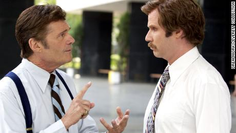 "Fred Willard and Will Ferrell in ""Anchorman: The Legend of Ron Burgundy."""