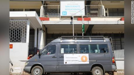 One of the buses provided to transport pregnant women to hospitals for medical care.