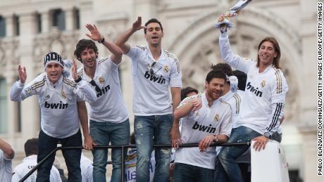 Real Madrid celebrate winning La Liga in 2012.