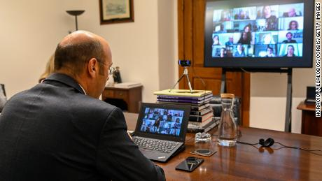 Portuguese Minister of State, Economy and Digital Transition, Pedro Siza Vieira, meets via Zoom video conference with members of the Portuguese Foreign Press Association AIEP to discuss the government's economic response to the coronavirus pandemic. (Horacio Villalobos/Corbis/Getty Images)