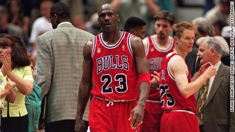 Jordan walks on the court during game five of the NBA Finals against the Utah Jazz.