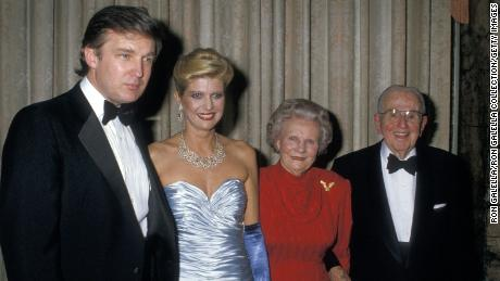 From left to right, Donald Trump, Ivana Trump, Ruth Peale and Dr. Norman V. Peale at Peale's 90th birthday party in 1988.