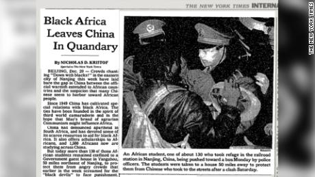 Coverage in the New York Times of the Nanjing incident in 1988.
