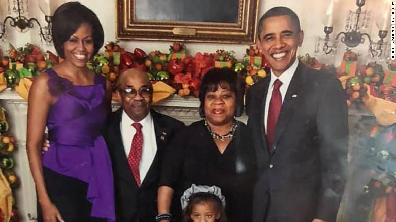 Former White House butler Wilson Roosevelt Jerman with then-President Barack Obama and first lady Michelle Obama.
