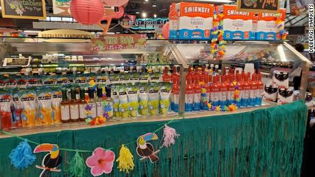 The salad bar at one Dierbergs supermarket transformed into a tiki bar.