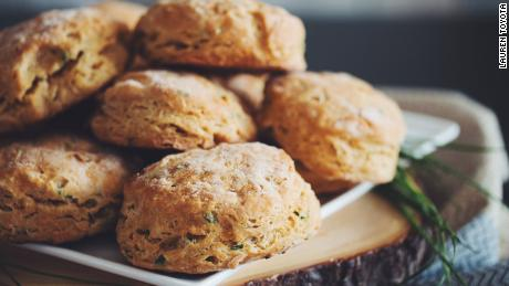 Hot for Food's cheesy chive biscuits are as flaky as their non-vegan counterparts.