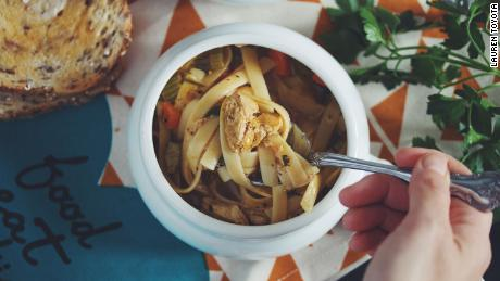 Hot for Food's vegan chicken noodle soup is reminiscent of a longtime family favorite.