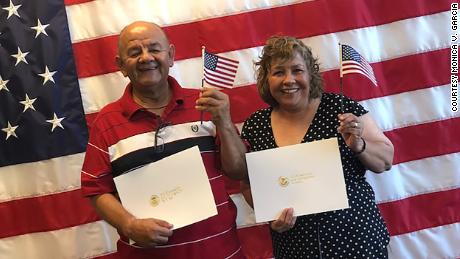 Colombian-born Carlos and Gloria Garcia became US citizens last year.