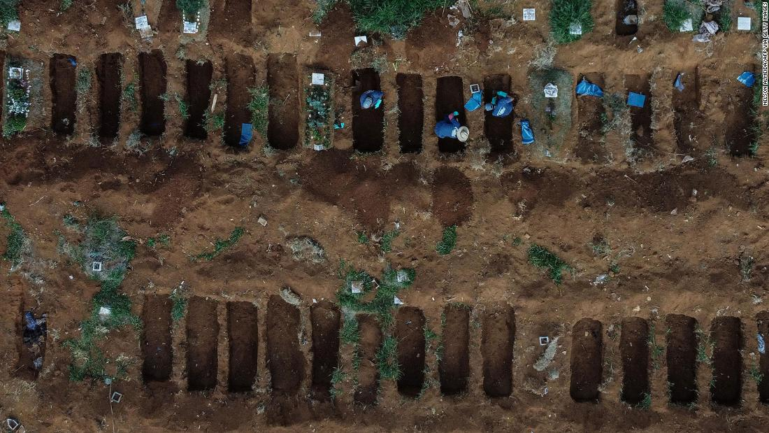 "This aerial photo shows gravediggers working at the Vila Formosa Cemetery, on the outskirts of Sao Paulo, Brasile, a Maggio 22. The coronavirus <a href =""https://www.cnn.com/2020/05/20/americas/brazil-coronavirus-deaths-intl/index.html"" target =""_blank&ampquott;>is surging in Brazil,</un> the hardest-hit country in Latin America."