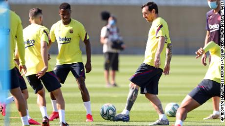 Lionel Messi and his Barceloa teammates take part in a training session at Ciutat Esportiva Joan Gamper earlier this week.