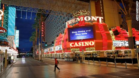 A near-deserted Fremont Street, after casinos were ordered to shut down due to the coronavirus outbreak in March.