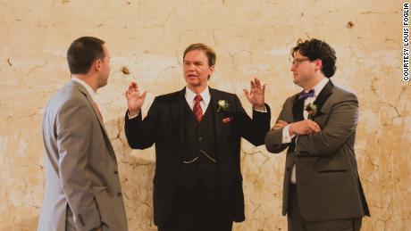 Philip F. Foglia, flanked by his sons, Philip L. Foglia (left) and Lou Foglia at Lou's wedding in 2014.