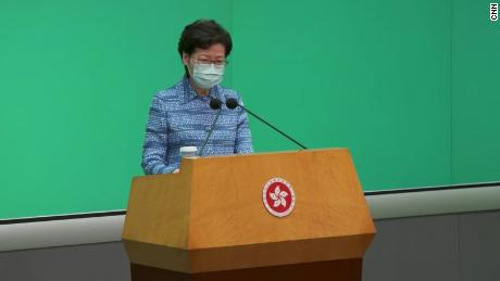 Hong Kong leader Carrie Lam at a press conference in May after the announcement of the proposed bill.