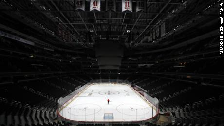 A lone skater takes to the ice on March 12 in Washington, DC.