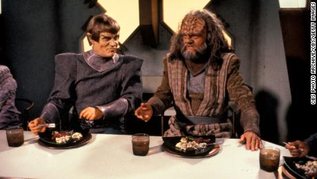 Alan Scarfe (as Tokath) and Richard Herd as L'Kor (left to right) in a scene from  'Star Trek: The Next Generation' (Photo by CBS Photo Archive/Getty Images)