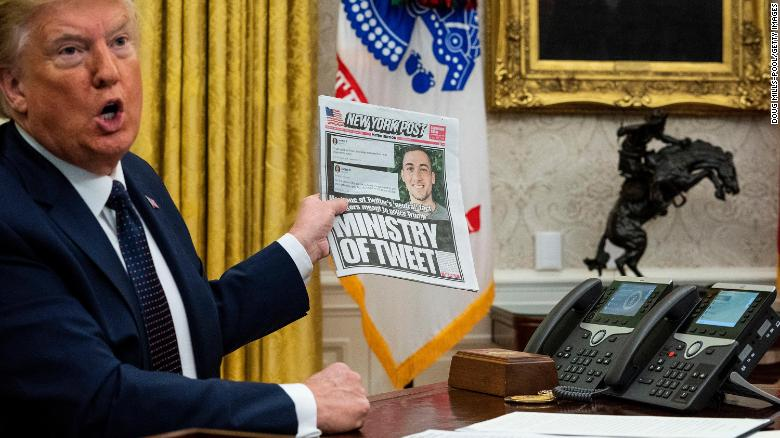 U.S. President Donald Trump speaks in the Oval Office before signing an executive order related to regulating social media