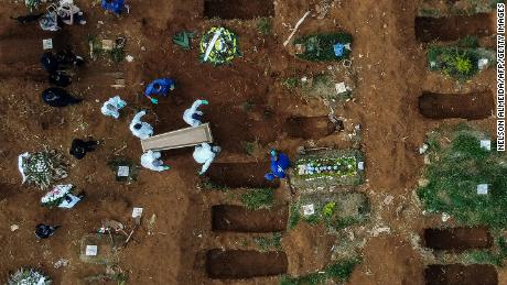 This aerial photo shows an alleged coronavirus victim being buried at the Vila Formosa Cemetery on the outskirts of Sao Paulo on May 22.