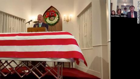 A video recording of Donald Truett Phillips funeral service two days earlier played during the virtual memories service.