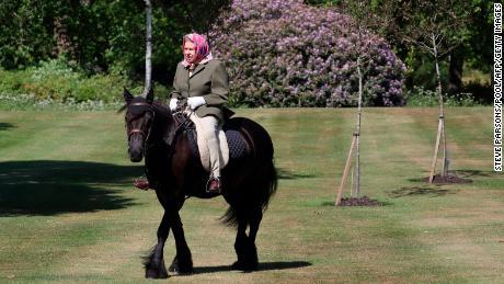 Britain's Queen Elizabeth, 94, pictured horseback riding during lockdown