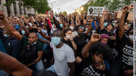 Thousands took part in protests in Paris on Tuesday.
