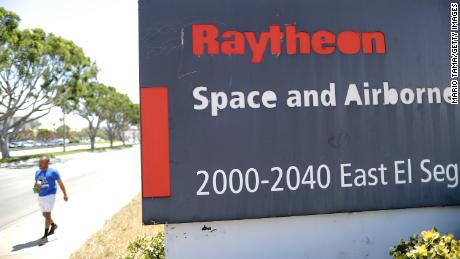 A sign is posted at a Raytheon Co. campus on June 10, 2019 in El Segundo, California.