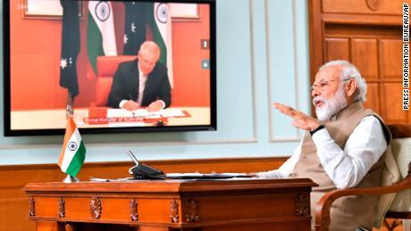 Indian Prime Minister Narendra Modi speaks during a virtual meeting with Australian Prime Minister Scott Morrison, in New Delhi, India, Thursday, June 4, 2020.