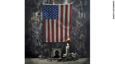 New Banksy artwork shows burning American flag — George Floyd tribute