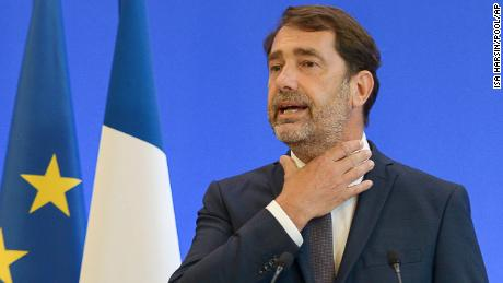 French Interior Minister Christophe Castaner, gestures during a media conference in Paris.
