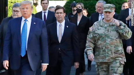 "Gen. Mark Milley, chairman of the Joint Chiefs of Staff, right, has since called his presence at Trump's St. John's Church walk ""a mistake""."