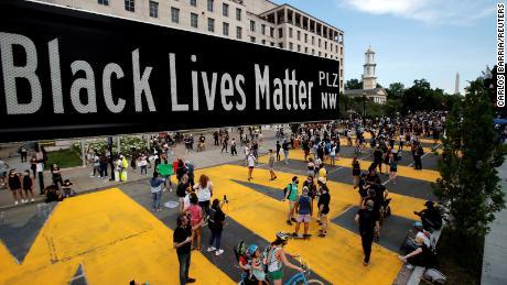 Black Lives Matter Plaza is seen near St. John's Episcopal Church in Washington.