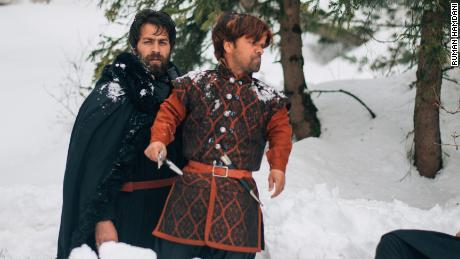Actor Tariq Mir performs in a Game of Thrones tribute video filmed in the ski resort of Gulmarg, Jammu and Kashmir, Feb. 2018.