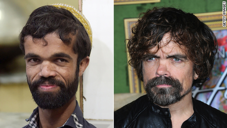 Pakistani waiter Rozi Khan (left) and actor Peter Dinklage.