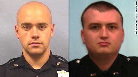 Atlanta officer Garrett Rolfe, left, and officer Devin Bronsan.