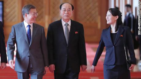 South Korean President Moon Jae-in, left, walks with Kim Yo Jong, North Korean leader Kim Jong Un's sister, and Kim Yong Nam, center, North Korea's former ceremonial head of state, at the presidential house in Seoul, South Korea, Saturday, February 10, 2018.