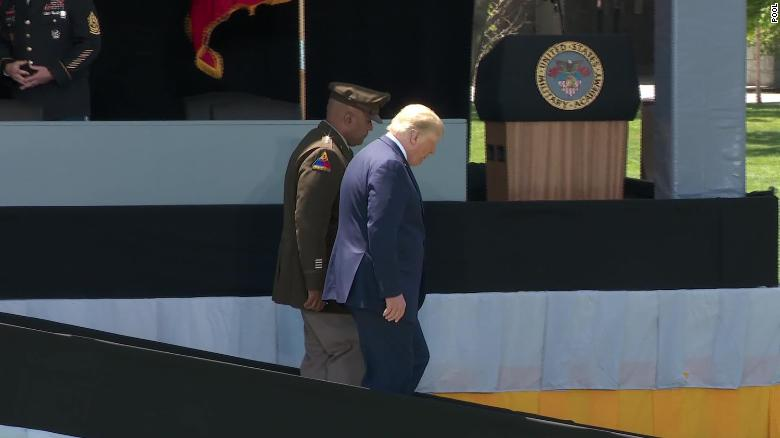 Trump defends slow walk down 'slippery' ramp at West Point