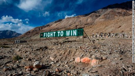 An Indian military banner post is seen next to a road in Ladakh in 2012. The region shares a border with both China and Pakistan.