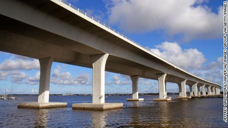 A Florida bridge is at 'risk of an imminent collapse' after a large crack appears underneath