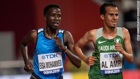 Mohammed competes in the 5000m heats of the World Athletics Championships in Doha