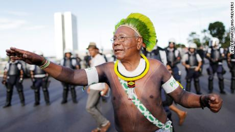 Paulinho Paiakan at a protest for indigenous rights in Brasilia, Brazil, in April 2017.