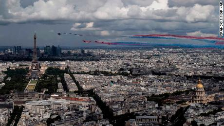 French and British jets fly over Paris on Thursday.