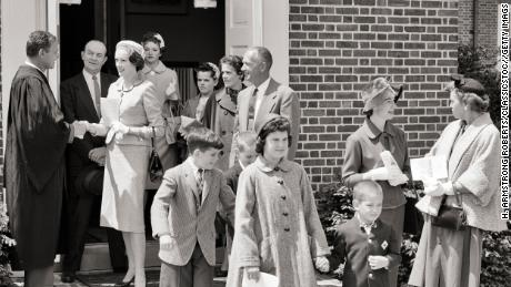 """Worshipers leaving an American church in the 1950s. """"If you read sermons in Mississippi in the 1950s and 1960s you would have no idea that there was a civil rights movement,"""" Jones says."""