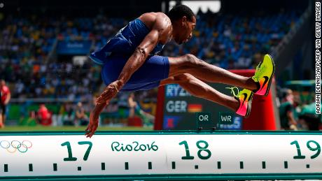 Taylor competes in the triple jump final during the Rio 2016 Olympic Games.